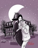 Gomez and Morticia Addams by Flyler