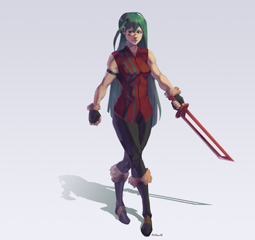 Swordswoman by Nidhoggn