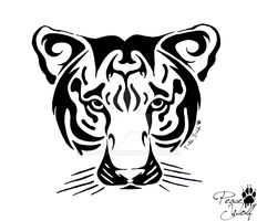 Tribal Tiger Face by Peace-Wolf