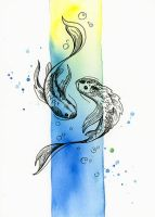 Inktober 05: Two Fish by LucieOn