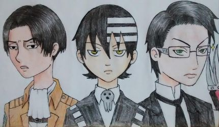 Rivaille, Death the Kid and William T. Spears by sofalart