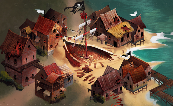 Isometric Pirate Town Background by Pheoniic