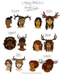 Faun Races of Looming Gaia by The-Greys