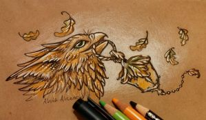 Gryphon with oak lantern by AlviaAlcedo