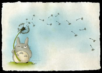 Totoro with a Dandelion by Lyrin-83