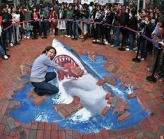 3D chalk drawing: Jaws by jackmoonlight