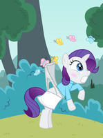 Filly Rarity wedgied by butterflies by Liggliluff