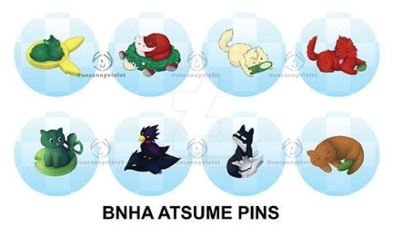 BnHA Atsume Pins by UncannyViolet