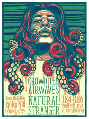 Crowd the Airwaves + Natural Stranger Gig Poster by Mew-Sumomo