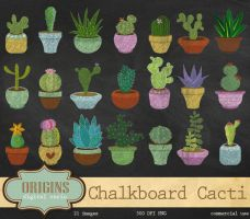 Chalkboard Cactus and Succulent Clipart by DigitalCurio