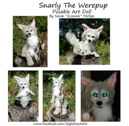 Snarly The Werepup Posable Art Doll by Eviecats