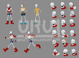 Undertale-Papyrus sketch and study by Uru1