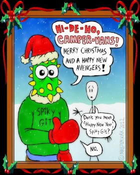Merry Christmas from Stick-Man and Spiky Git by MalcolmKirk
