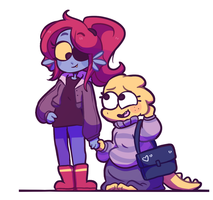 Alphys and Undyne by Koalify13