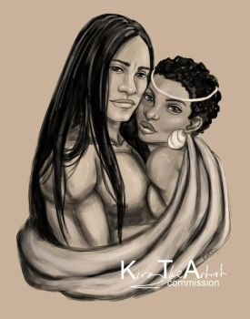 Native American Male and African Woman by KiraTheArtist