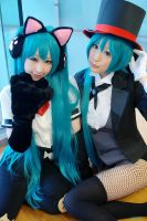 Kitty!Miku + Circus!Miku = Chi and Ami by LalalaAmiDesu