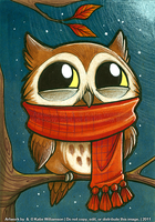 Tiny owl is PLEASED with scarf by Katie-W