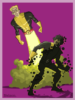 X-Men of the Day:  CANNONBALL and SUNSPOT by NelsonHernandez