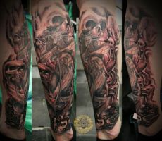 step2 baphomet skull leg tat by 2Face-Tattoo