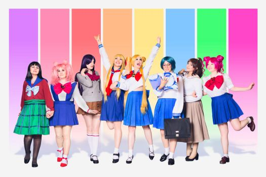 Sailor moonies ready for the school!! by Madoka-swan
