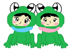 Takumi and Misaki as kids in frog costumes by MirabelleLeaf31