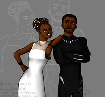 T'challa and Shuri by nessaaa95