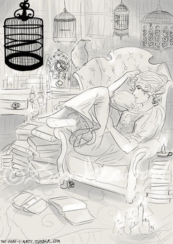 The Night Circus - Celia's Library (sketch) by Sombrewood