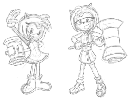Amy Rose Sketches by AdamTTnJ