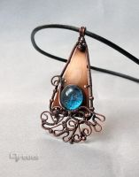 Wire wrapped blue glass cabochon pendant by artual