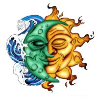 Moon and Sun Tattoo design by audiocritterz