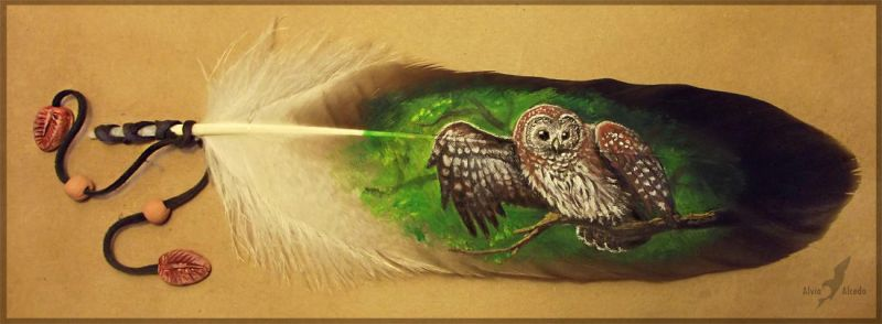 Feather painting - forest ghost by AlviaAlcedo