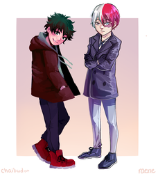 COLLAB: Fall Todoroki and Deku by raexie