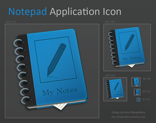 Notepad Application Icon by shlyapnikova