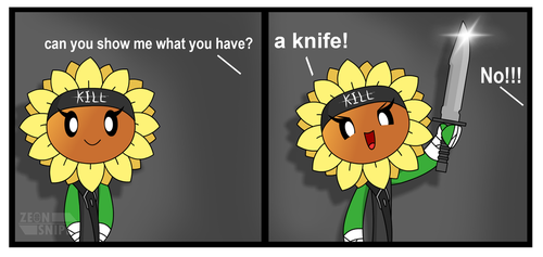 crazy Sunflower with a Knife! by ZeonSniper