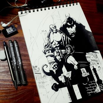 Hellboy and The Batman by Bayushi-Tai