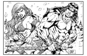 Red Sonja and Conan Ink by Baddjer