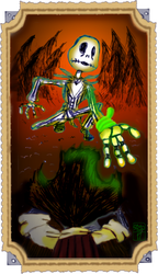 Skellington beckoning a hand to wilson by Ohthehumanityplz