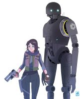 Jyn Erso and K-2SO by papillonstudio