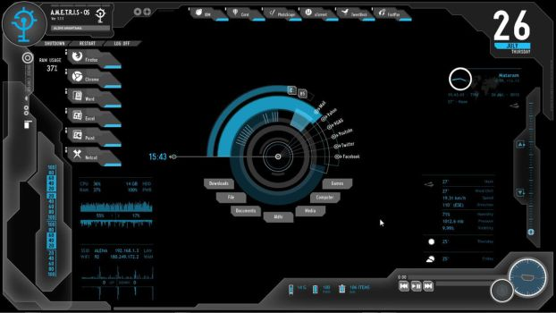 Ametris Rainmeter Blue Shield by aldho123