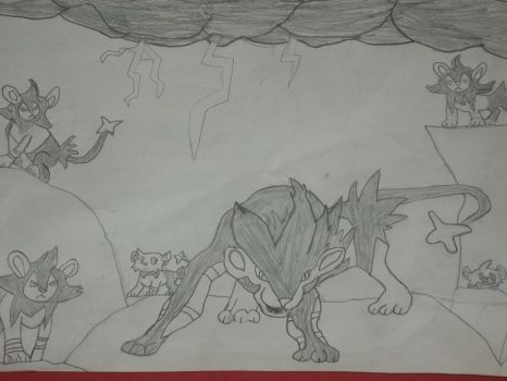 A luxray and his pack. by roquana