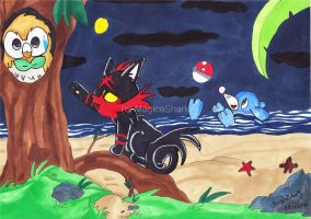 Rowlet  Litten And Popplio by MagicaShark