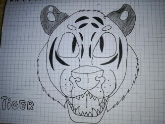 (Uncoloured)Tiger by FaraWolfdog