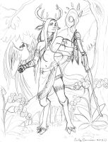 Faun Shaman - Second Version Pencil Sketch by EmilyCammisa