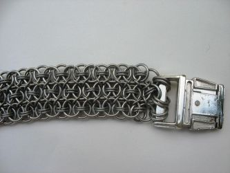 Chainmaille Dog Collar Closeup by andrewk1969