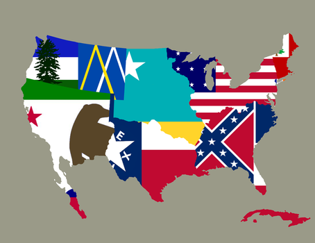 Flag-Map of the former United States, ca. 1905 by Mobiyuz