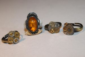 Steampunk Cog Rings by the-danger-mouse