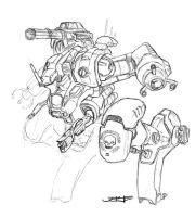 Mech Sketch - DHA-3 by project-aye