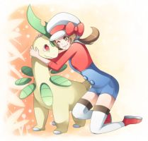 bayleef + trainer by majigoma