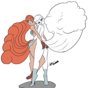 Ally and Elly the Vulpix Twins by VolcanoElement