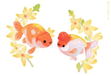 Ranchu and Forsythias by pikaole